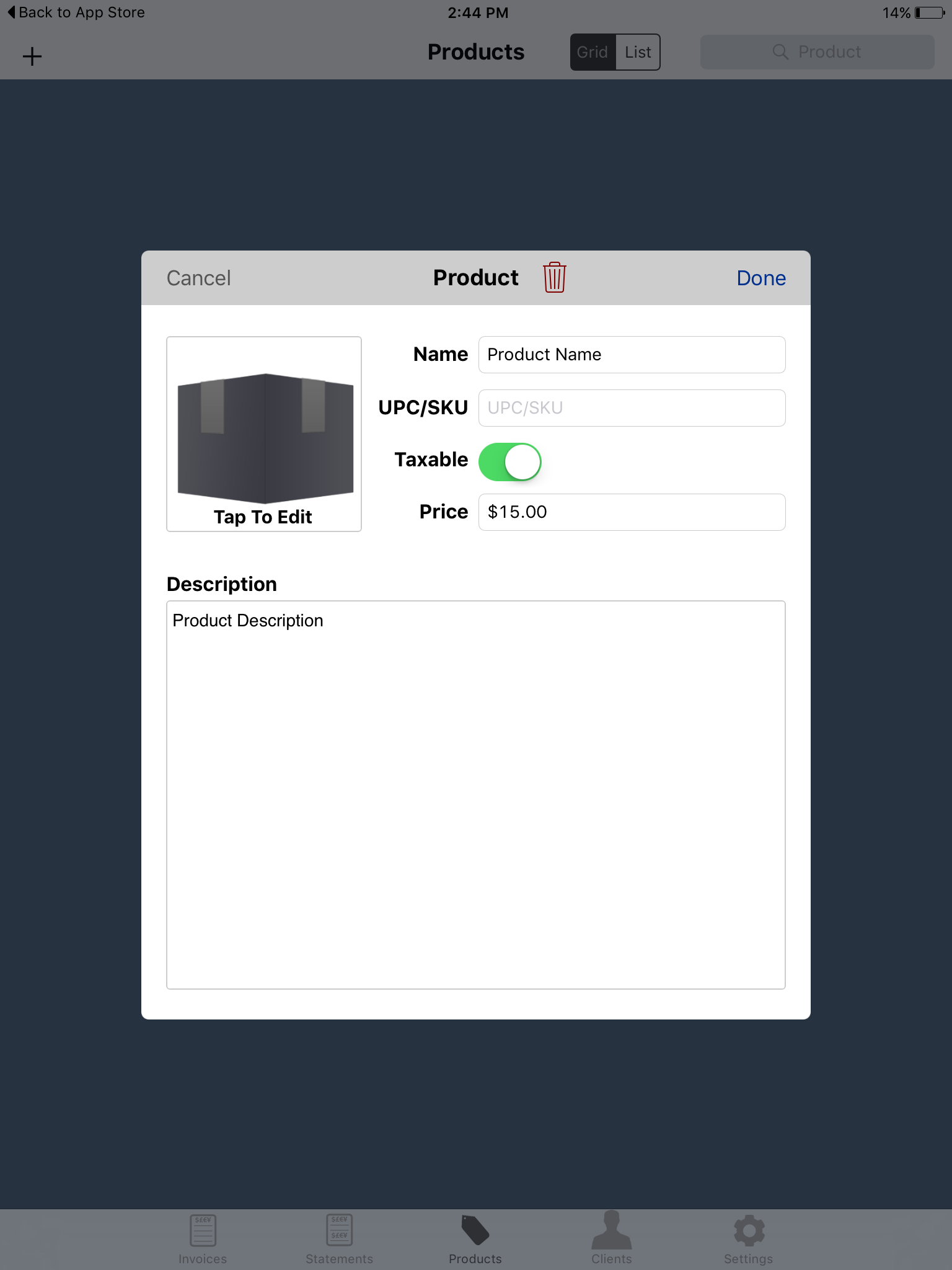 Taxable Setting iOS