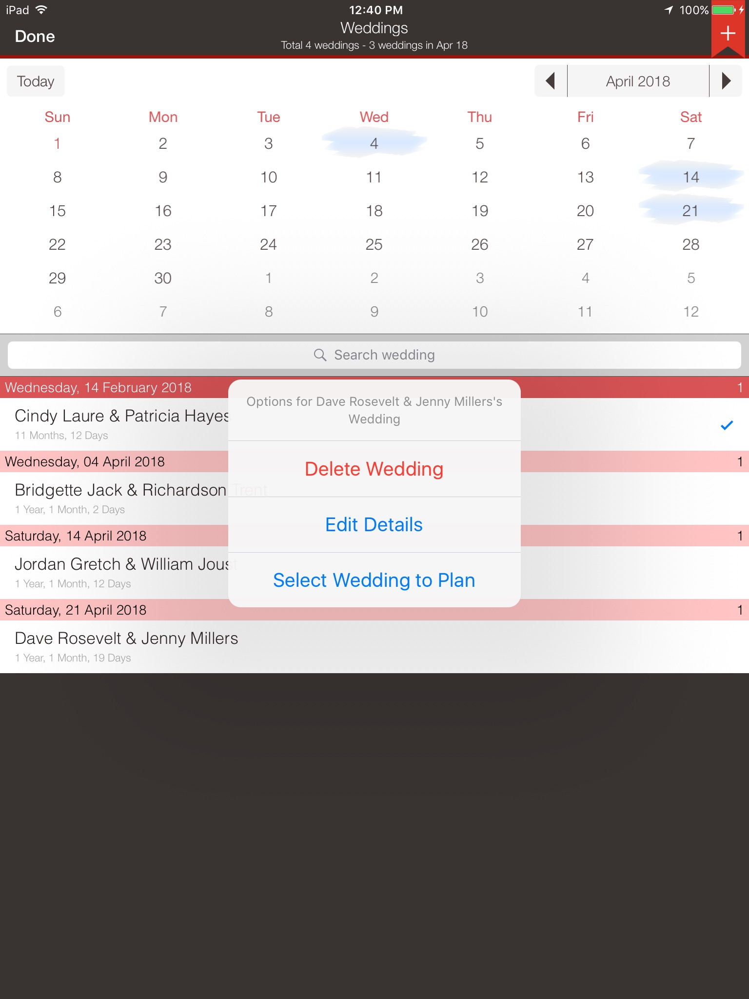 Delete/Edit existing wedding iPad
