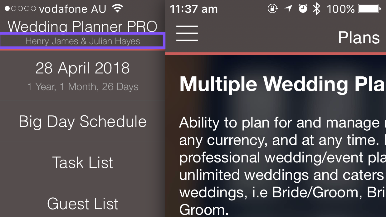 Currently selected wedding iPhone
