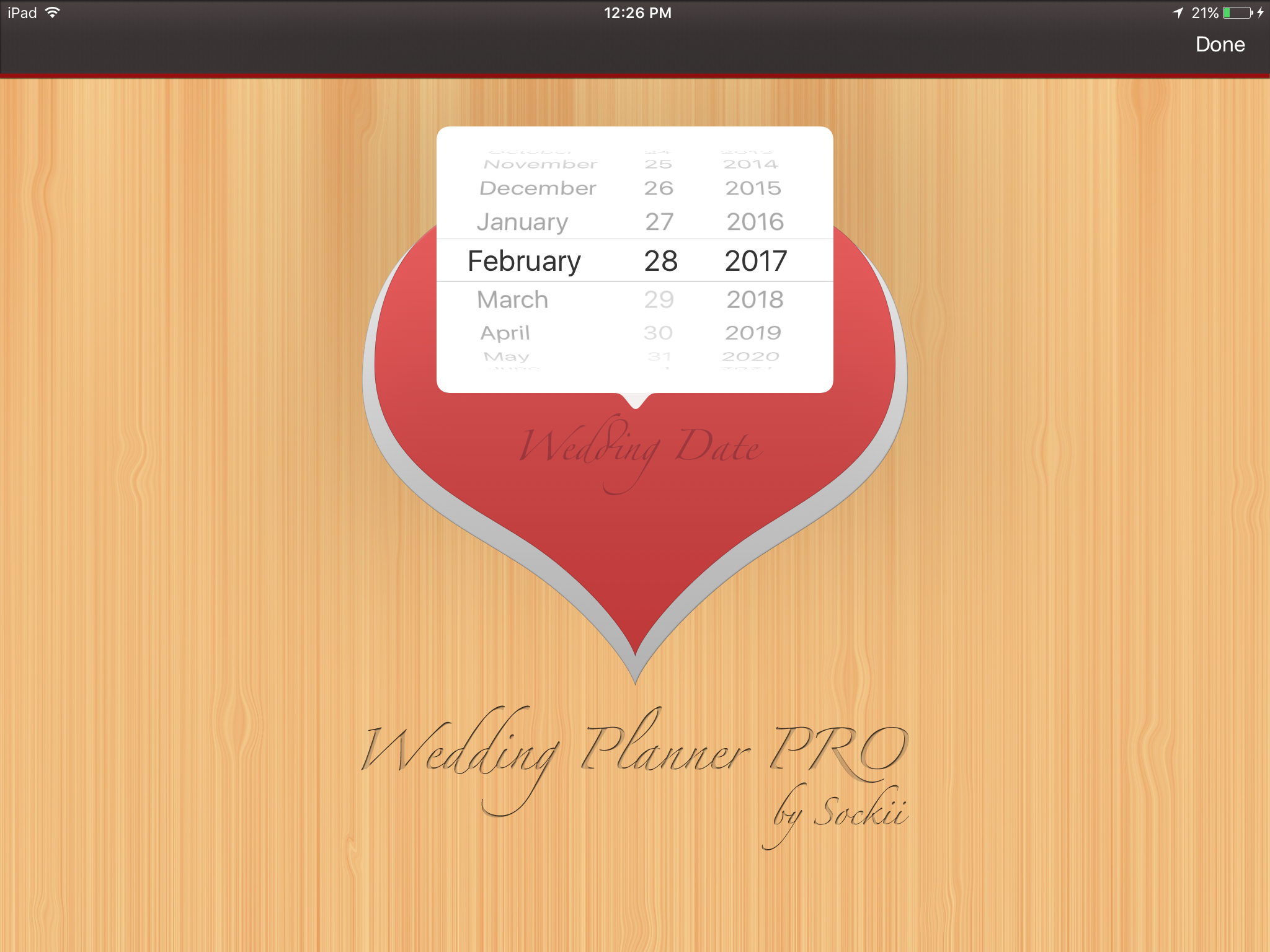 Wedding Planner PRO entering wedding date iPad