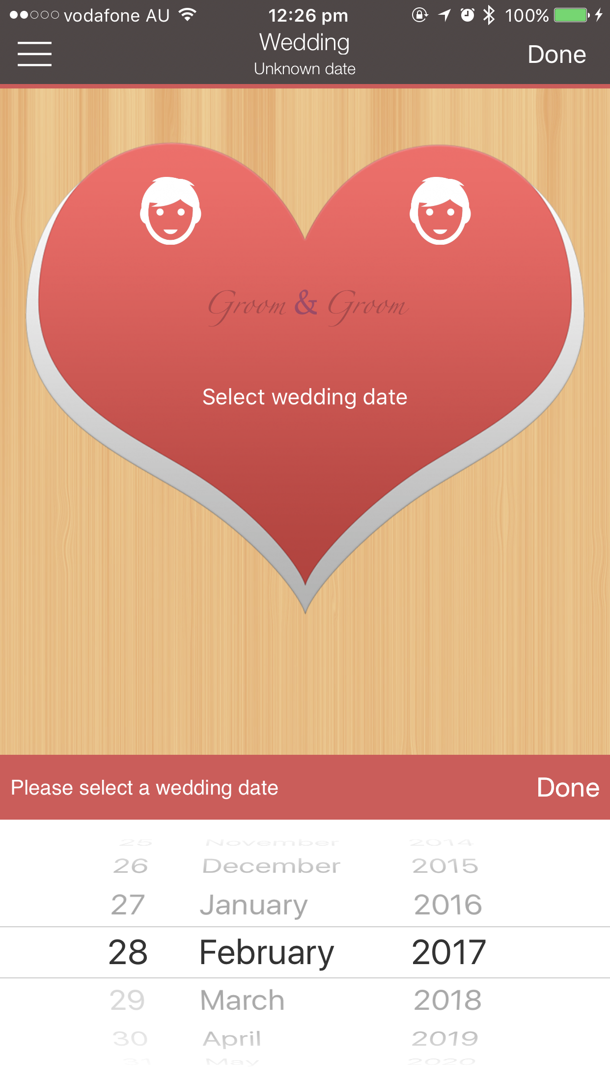 Wedding Planner PRO entering wedding date iPhone