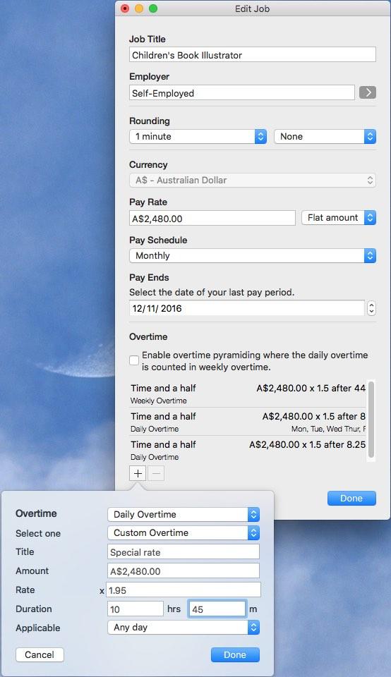 Custom overtime mac