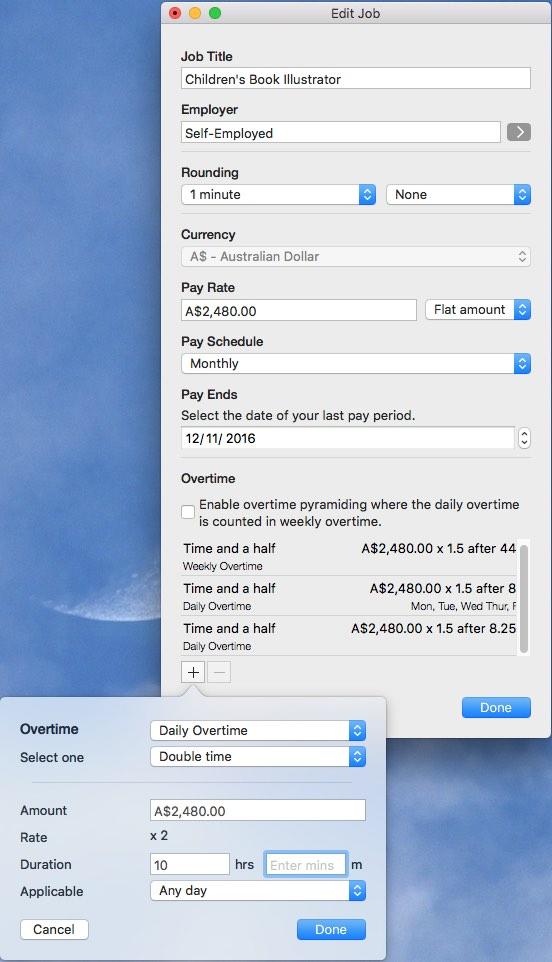 Adding overtime mac