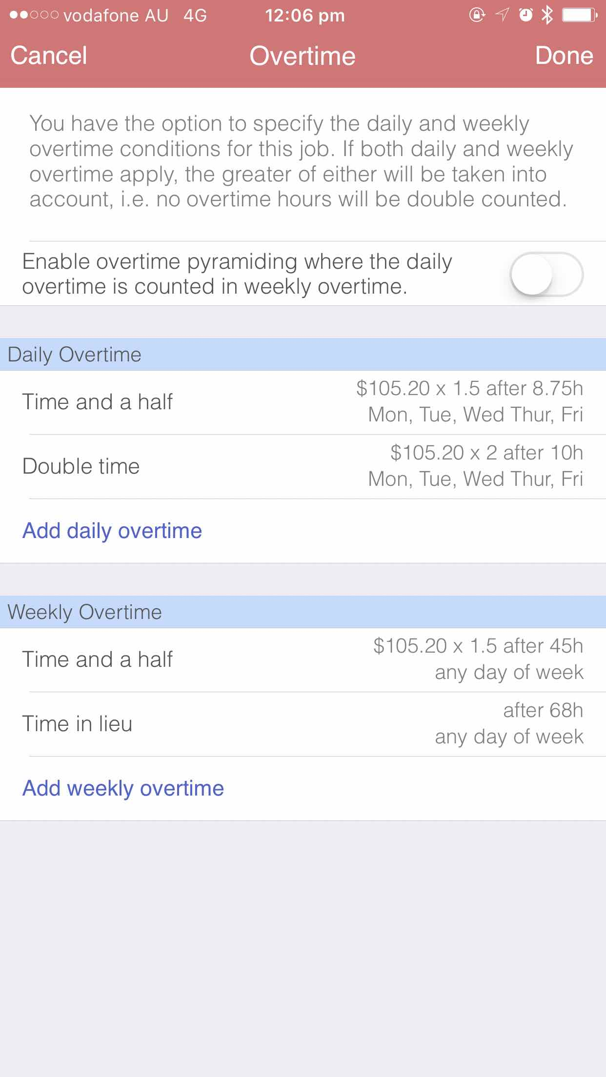 Adding Overtime iOS