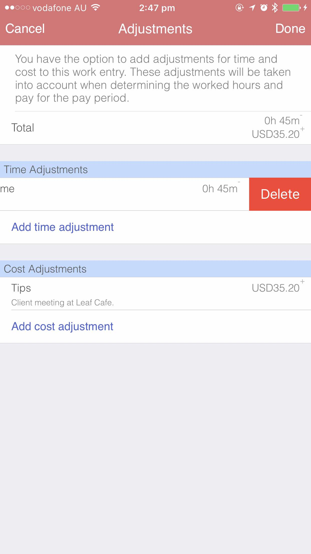 Deleting adjustments iOS