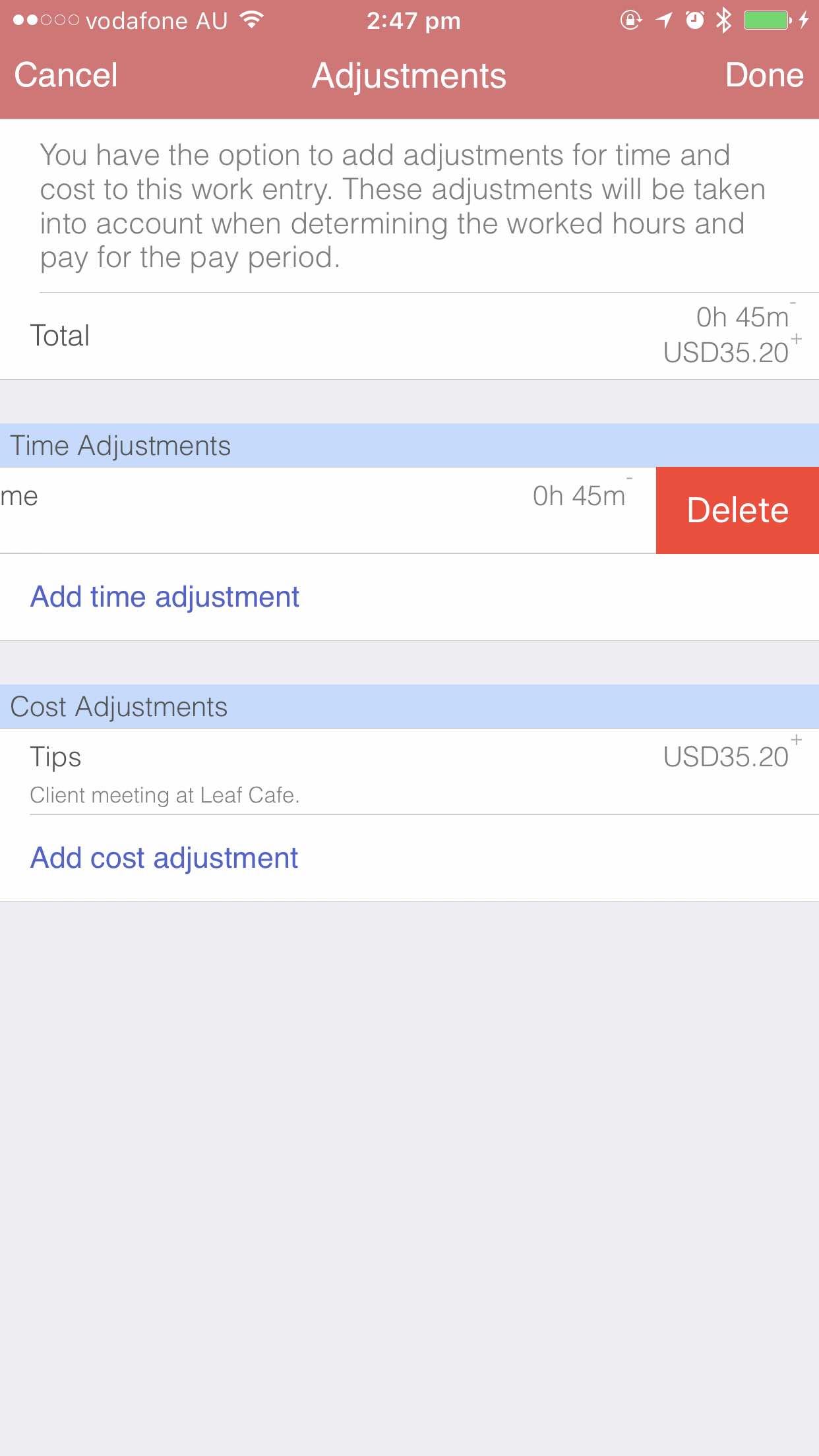 Deleting adjustments iOS