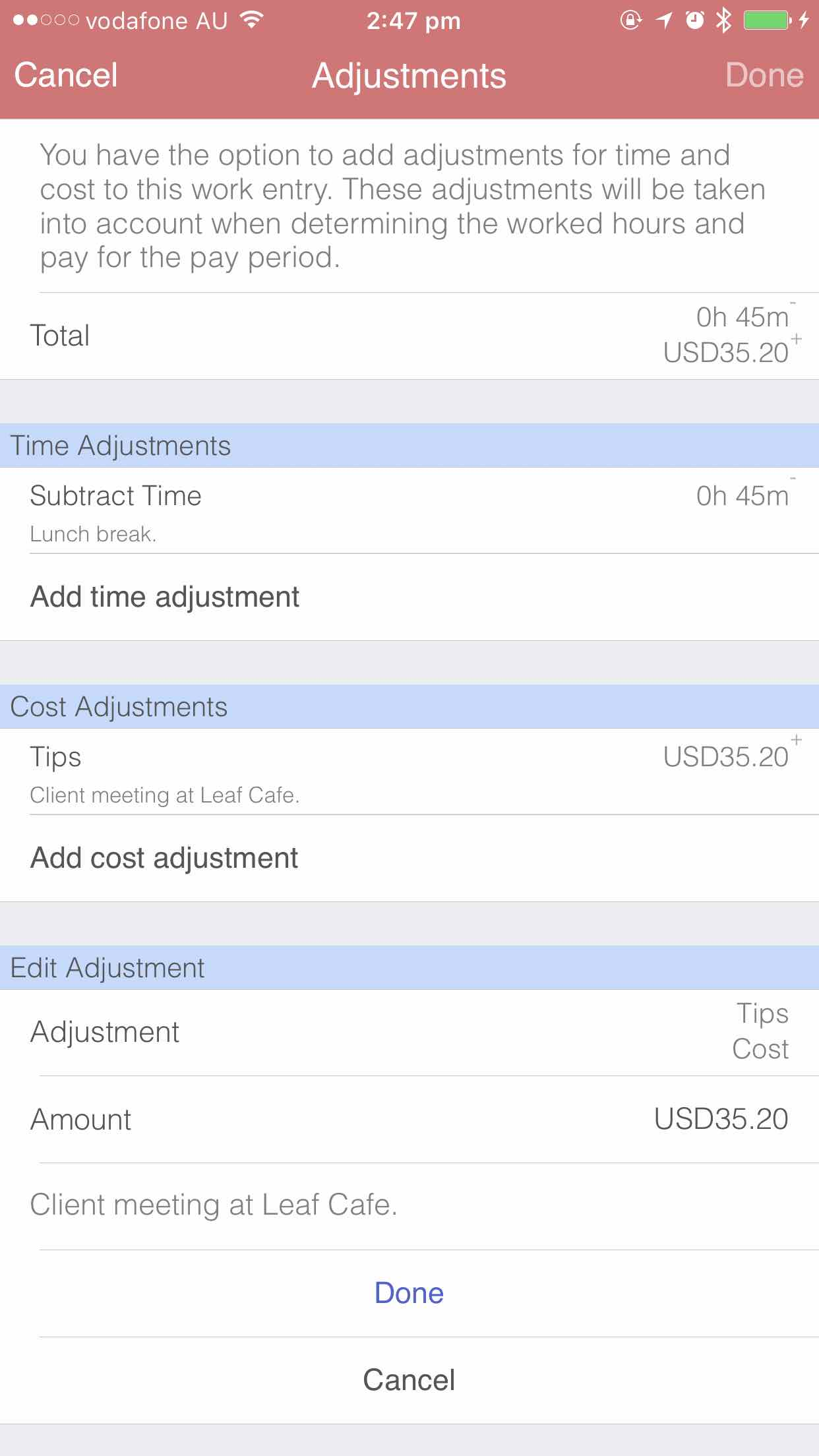 Editing adjustments iOS