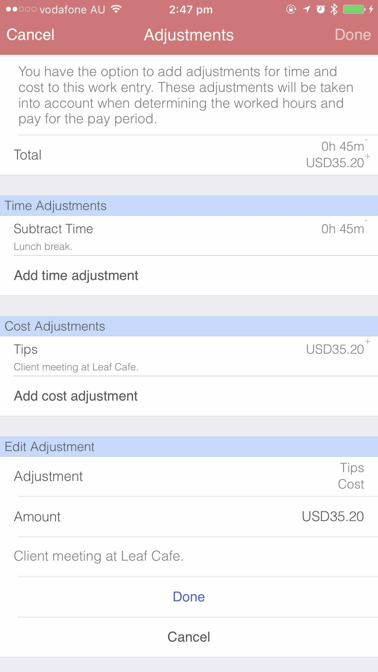 Editing adjustments iOS
