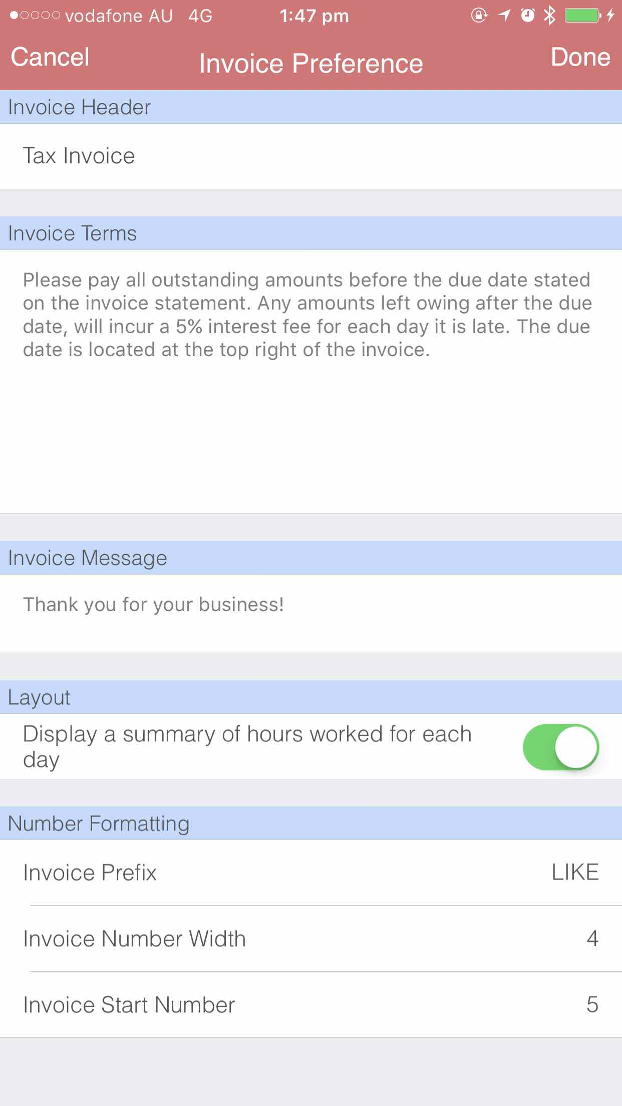 Invoice number format iOS