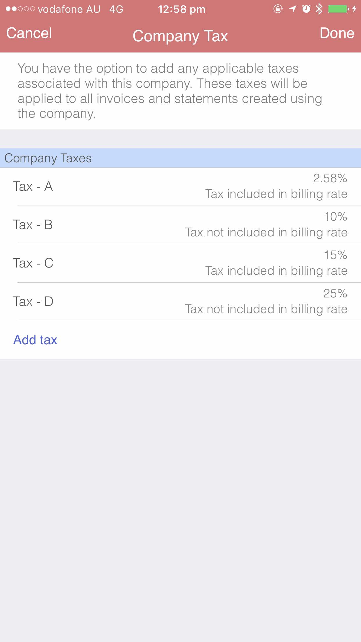 Tax setting iOS