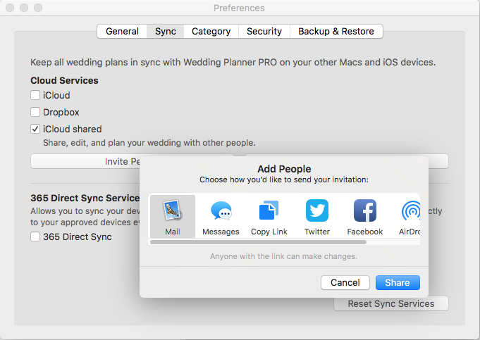 Invite on Mac